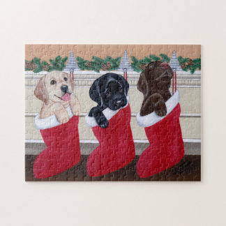 Labrador Retriever Puppies Christmas Painting Jigsaw Puzzle