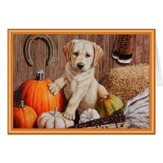 Labrador Retriever Puppy and Pumpkins Greeting Card