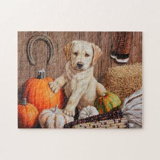 Labrador Retriever Puppy and Pumpkins Jigsaw Puzzles