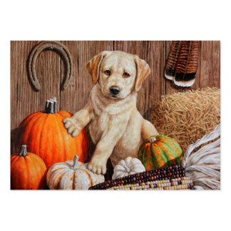 Labrador Retriever Puppy and Pumpkins Large Business Card