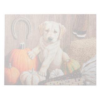 Labrador Retriever Puppy and Pumpkins Memo Pads