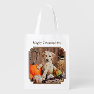 Labrador Retriever Puppy and Pumpkins Reusable Grocery Bag