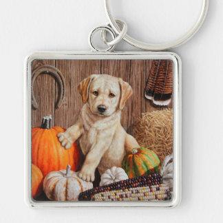 Labrador Retriever Puppy and Pumpkins Silver-Colored Square Keychain