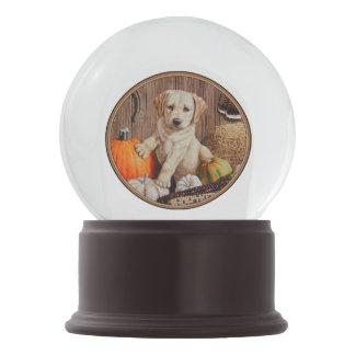 Labrador Retriever Puppy and Pumpkins Snow Globe