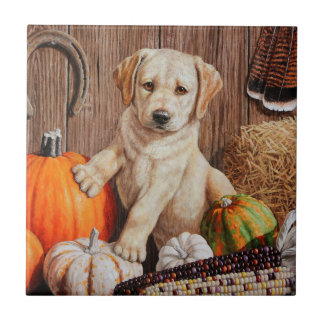 Labrador Retriever Puppy and Pumpkins Tile