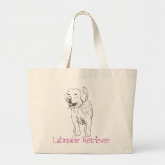 Labrador Retriever Puppy Dog Illustration Cartoon Large Tote Bag