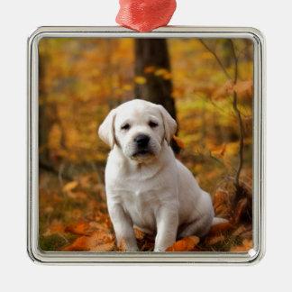 Labrador retriever puppy metal ornament