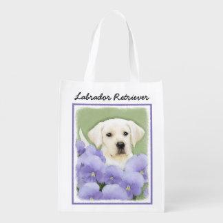 Labrador Retriever Puppy Painting Original Dog Art Reusable Grocery Bag