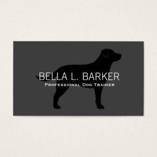 Labrador Retriever Silhouette Black on Grey Business Card