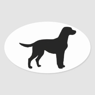 labrador retriever silhouette oval sticker