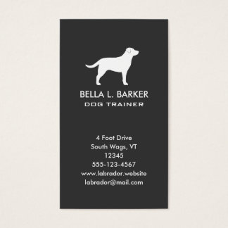 Labrador Retriever Silhouette Vertical Business Card