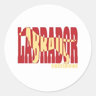 Labrador Retriever silhouette, yellow Classic Round Sticker