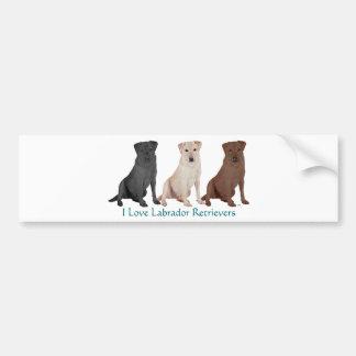 Labrador Retrievers - 3 Colors to Love Bumper Sticker