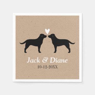 Labrador Retrievers Wedding Couple with Text Disposable Napkins