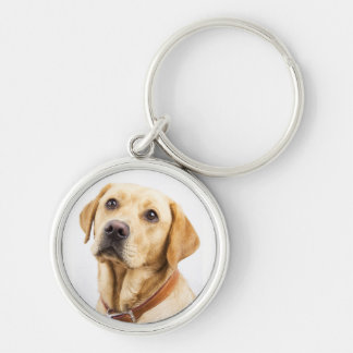 Labrador Silver-Colored Round Keychain
