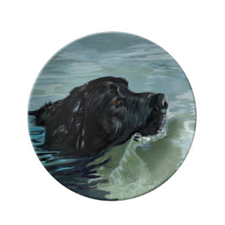 Labrador Swimming Porcelain Plate