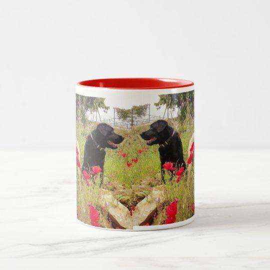 Labrador & Whipet sitting in poppy field. Two-Tone Coffee Mug