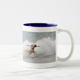 Labrador - Yellow - Go Fetch! Two-Tone Coffee Mug