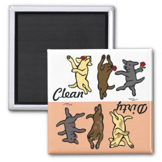 Labradors de danse heureux propre/sale aimant
