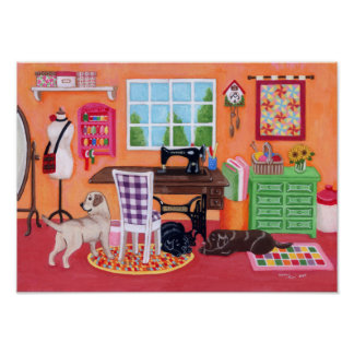 Labradors in Mom's Sewing Room Painting Poster