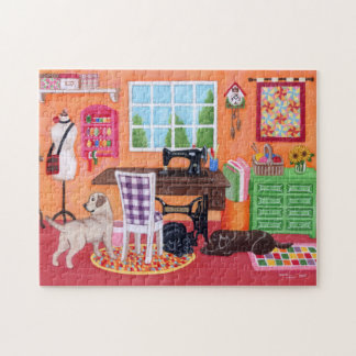 Labradors in Mom's Sewing Room Puzzle