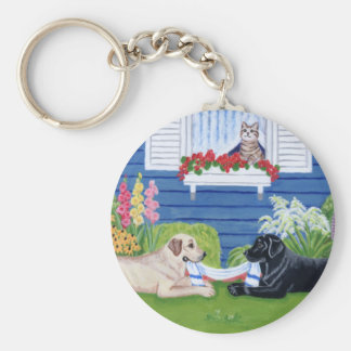 Labradors in the Garden Painting Basic Round Button Keychain