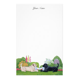 Labradors in the garden Painting Stationery