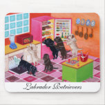 Labradors in the Kitchen Painting Mouse Pad