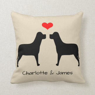 Labradors silhouette with heart personalized throw pillow