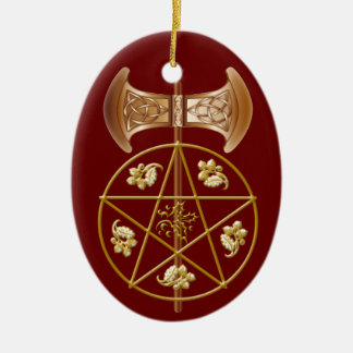 Labrys, Pentagram, & Holly - 2RedB Ornament