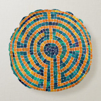 Labyrinth II Round Pillow