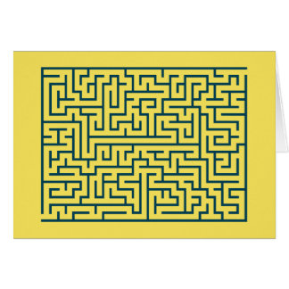 Labyrinth maze n° 17 light yellow cerulean blue card