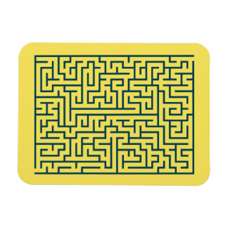 Labyrinth maze n° 17 light yellow cerulean blue magnet
