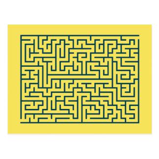 Labyrinth maze n° 17 light yellow cerulean blue postcard