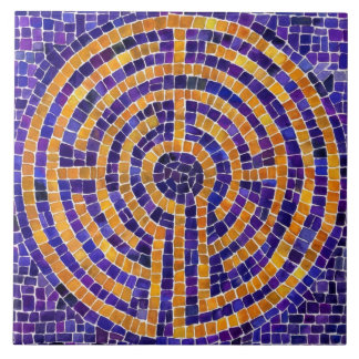 Labyrinth Mosaic Large Ceramic Tile