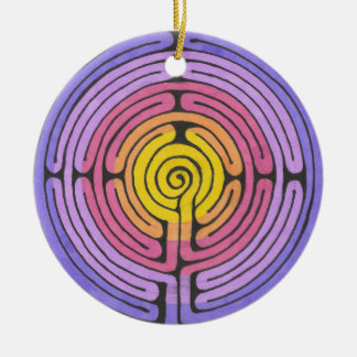 Labyrinth Round Ceramic Ornament
