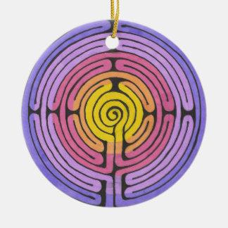Labyrinth Round Ceramic Ornament