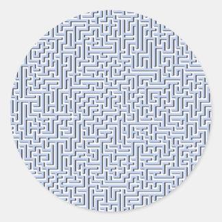 Labyrinthe bleu d'Alice dans un jardin anglais de Sticker Rond