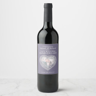 Lace 13th wedding anniversary custom wine labels