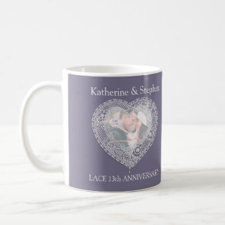 Lace 13th wedding anniversary photo mug