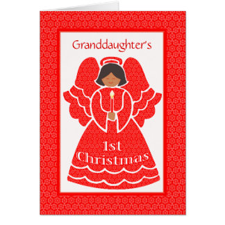 Lace 1st Christmas Ethnic Angel for Granddaughter Card