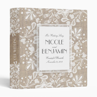 Lace and Burlap Elegant Vintage Wedding 3 Ring Binder