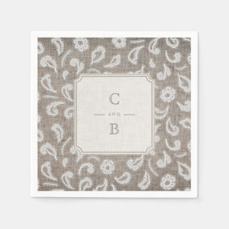 Lace and burlap rustic country wedding monogram paper napkin