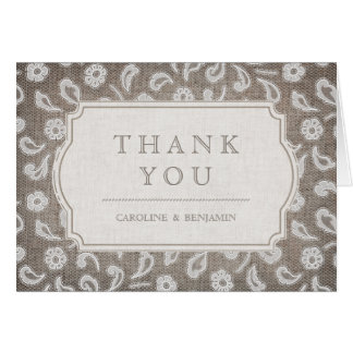 Lace and burlap rustic country wedding thank you card