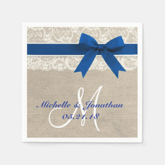 Lace and Burlap Rustic Wedding Napkin Royal Blue