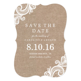 "Lace and Burlap Save the Date 5"" X 7"" Invitation Card"
