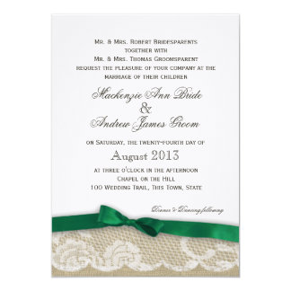 "Lace and Emerald Green Bow Wedding 5"" X 7"" Invitation Card"