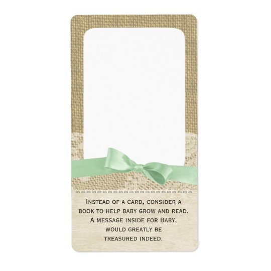 Lace and Green Bow Baby Book Tags Shipping Label