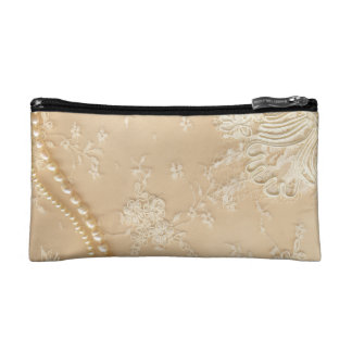 Lace and Pearl Design Cosmetic Bag