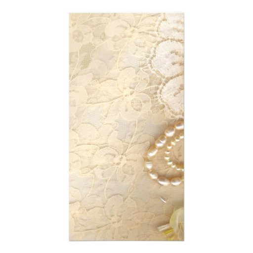 Lace and Pearl Needlework Personalized Photo Card